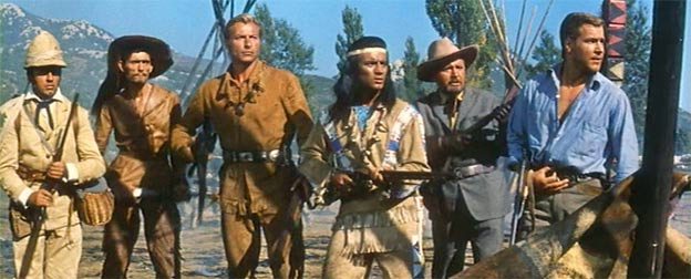 Angriff der Utahs! Von links: Castlepool, Gunstick-Uncle, Old Shatterhand, Winnetou, Patterson, Fred Engel
